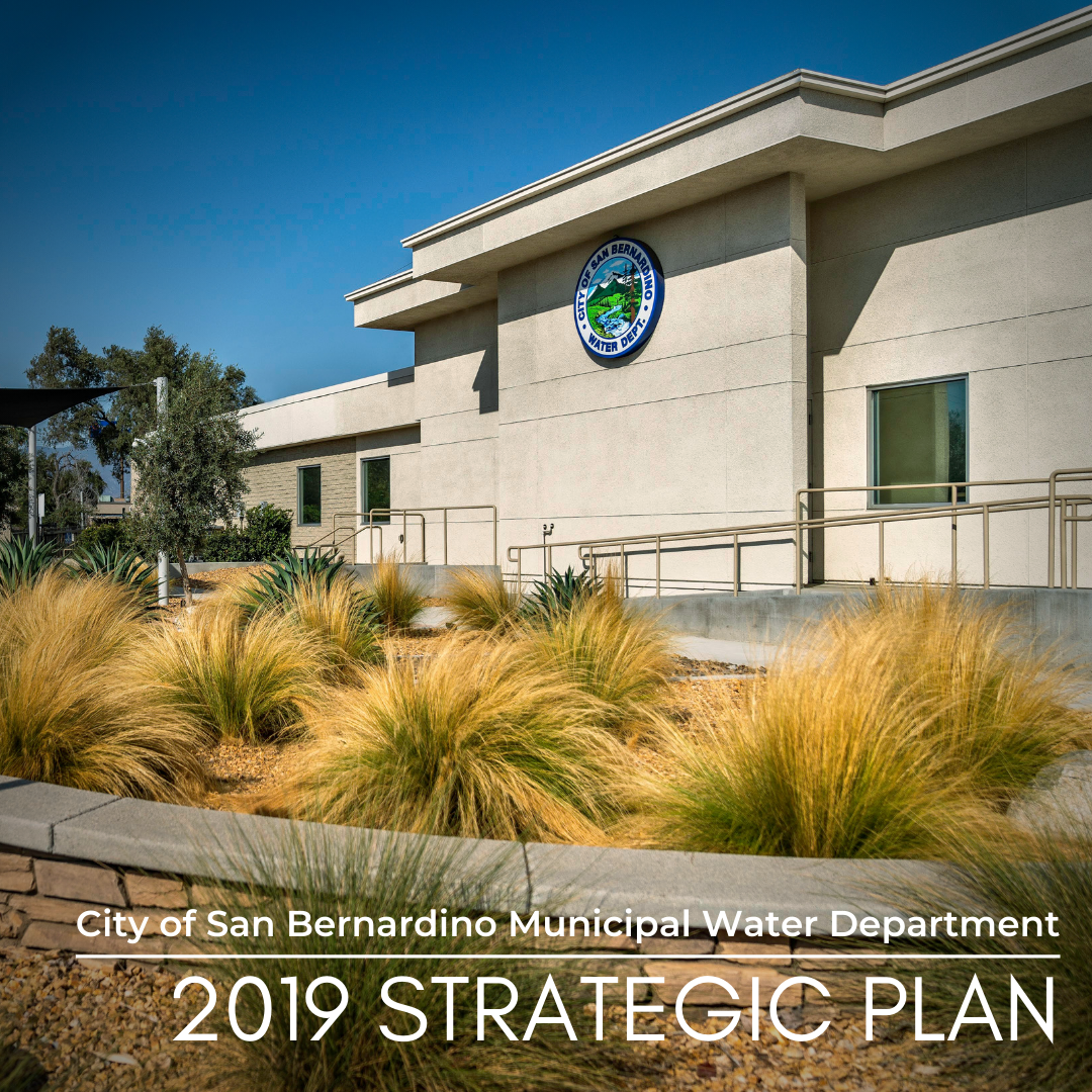 "Water Department Building with text ""2019 Strategic Plan"""
