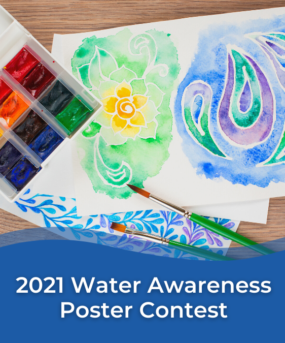 Artwork, paint and paper, text reads 2021 Water Awareness Poster Contest